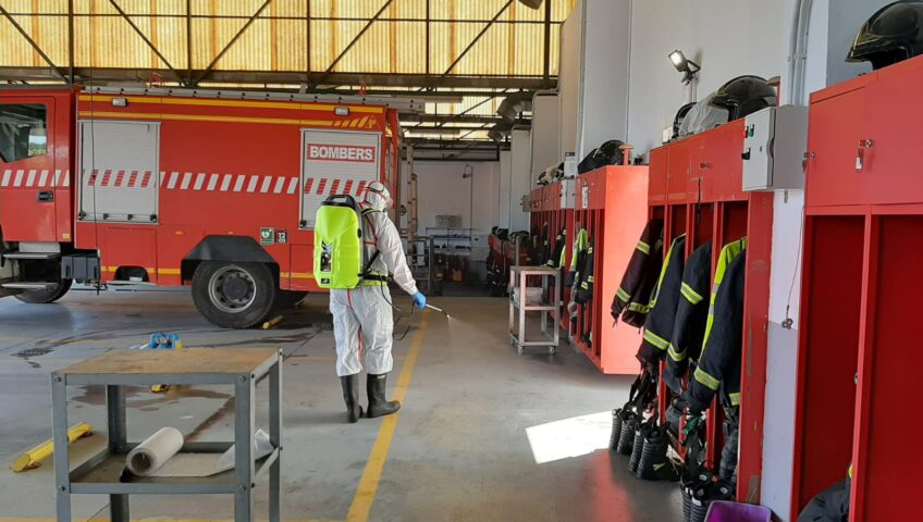 desinfección parque de bomberos, goldservice.es